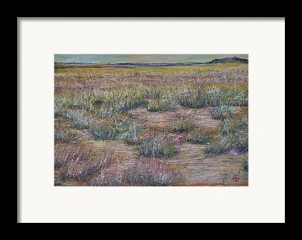 Landscape Framed Print featuring the painting Desert Symphony by Wendy Chua