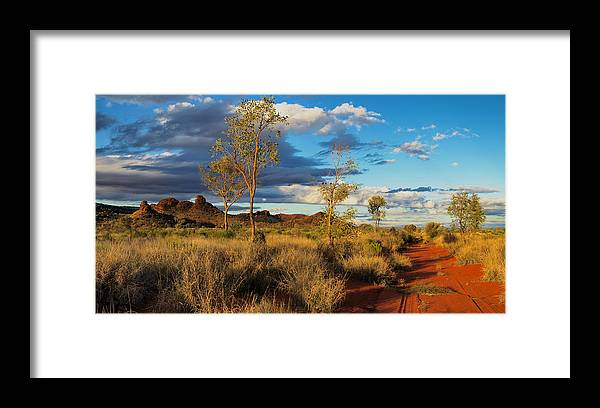 Central Framed Print featuring the photograph Desert Track by Chris Tangey