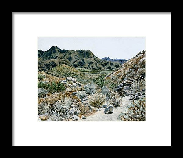 Landscape Painting Framed Print featuring the painting Desert Trail by Jiji Lee