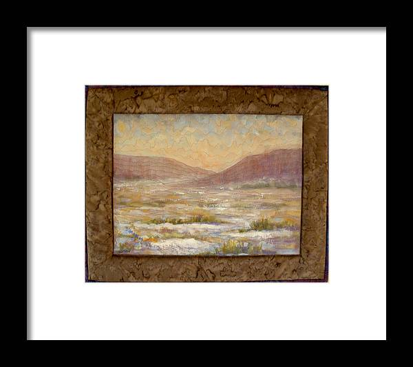 Realism Framed Print featuring the mixed media Desert Winter by Diane and Donelli DiMaria