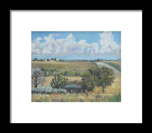 Landscape Framed Print featuring the painting Deserted Farm House by Gloria Smith