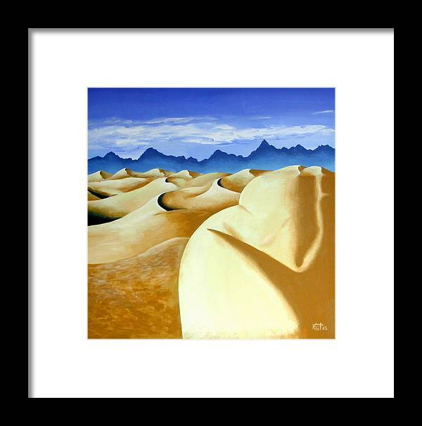 Desert Landscape Nudes Surreal Framed Print featuring the painting Deserted by Poul Costinsky