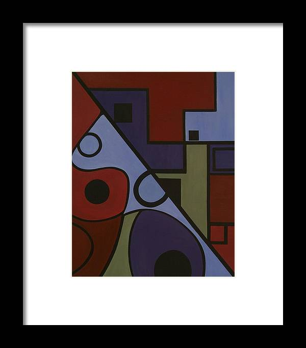 Abstract Framed Print featuring the painting Design A by Sandy Bostelman