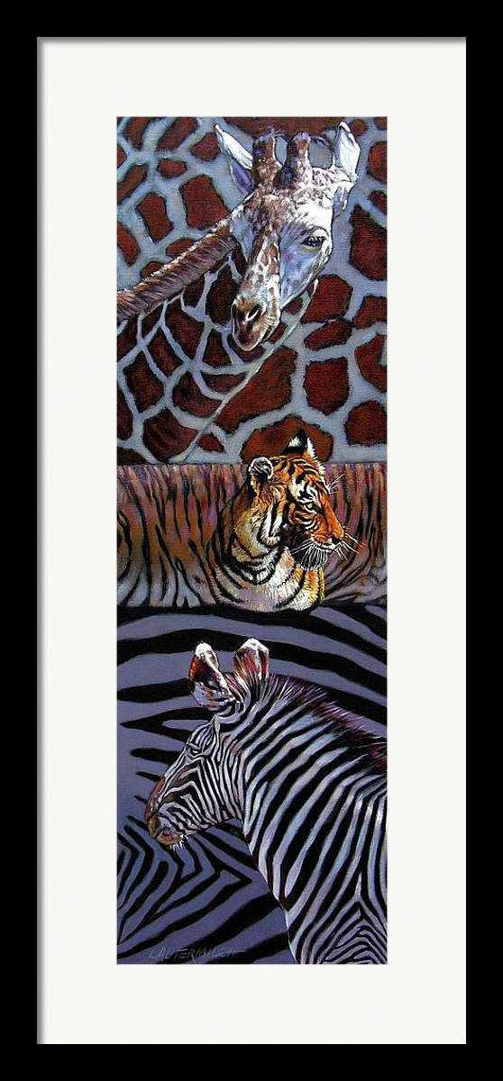 Animals Framed Print featuring the painting Designs For Defense And Offense by John Lautermilch