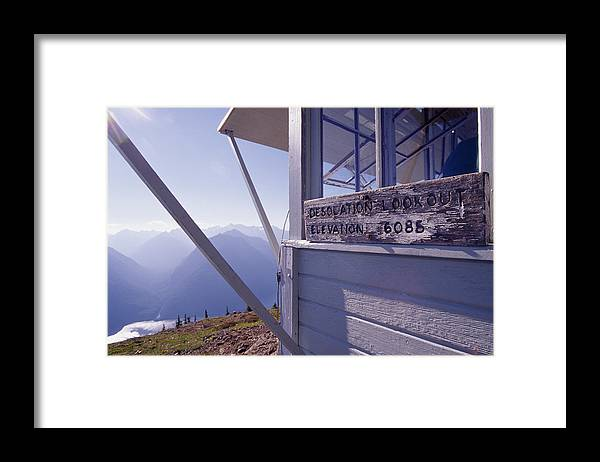 Desolation Peak Framed Print featuring the photograph Desolation Peak Fire Lookout Cabin Sign by David Pluth