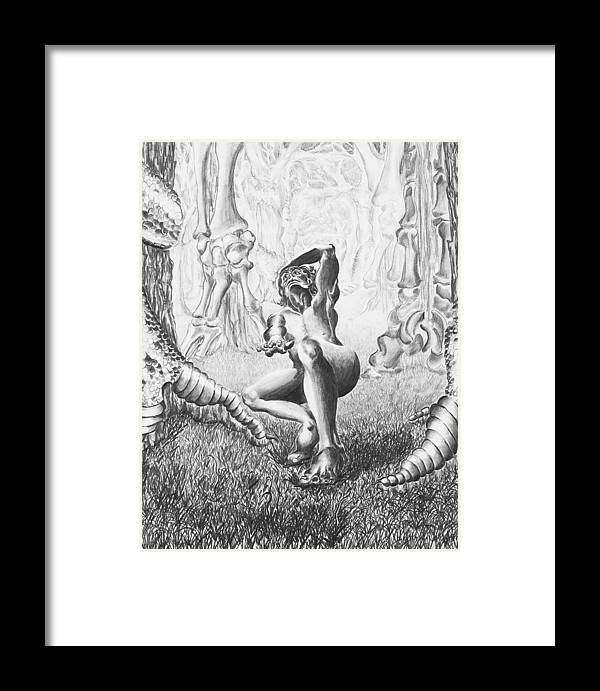 Portrait Framed Print featuring the drawing Despair by Victoria Shea