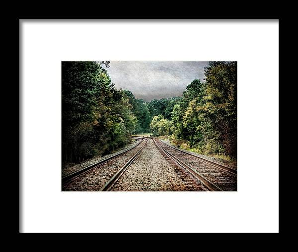 Train Tracks Framed Print featuring the photograph Destination Unknown, Travel Journey Train Tracks by Melissa Bittinger