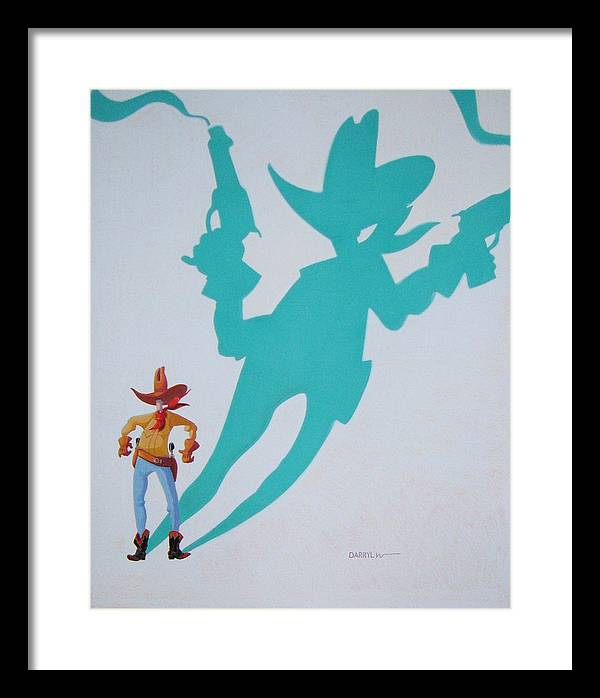 Cowboy Framed Print featuring the painting Destiny's Shadow by Darryl Willison
