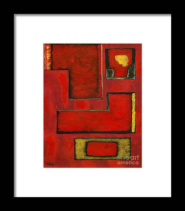 Red Framed Print featuring the painting Detached by Itaya Lightbourne