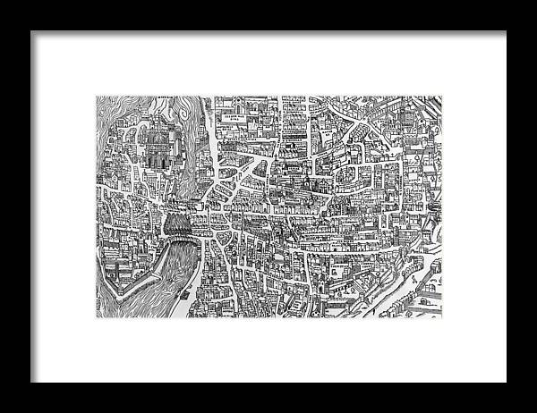 Maps Framed Print featuring the photograph Detail From A Map Of Paris In The Reign Of Henri II Showing The Quartier Des Ecoles by French School