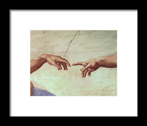 Hands Framed Print featuring the painting Detail From The Creation Of Adam by Michelangelo