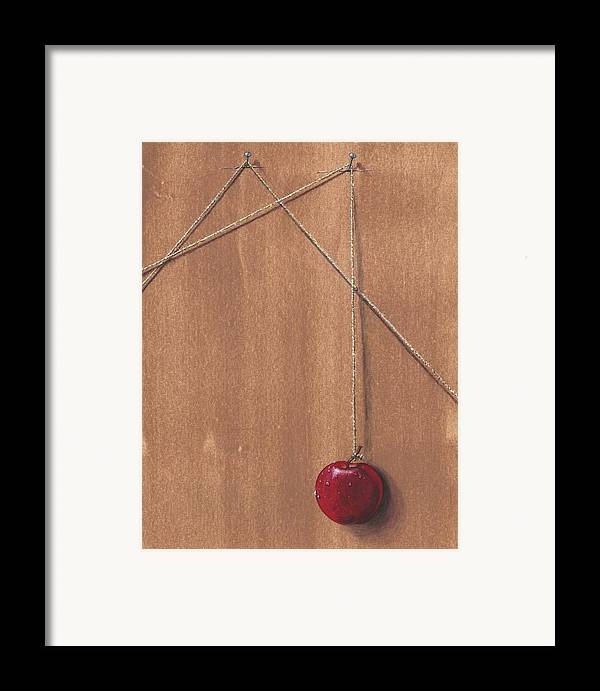 Apple Framed Print featuring the painting Detail Of Balanced Temptation. by Roger Calle
