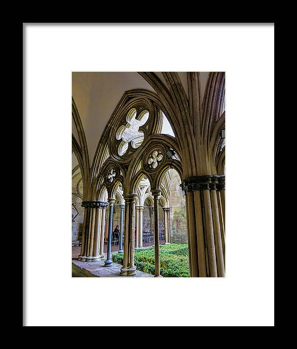 Detail Of Salisbury Cathedral Cloister Framed Print featuring the photograph Detail Of Salisbury Cathedral Cloister by Phyllis Taylor