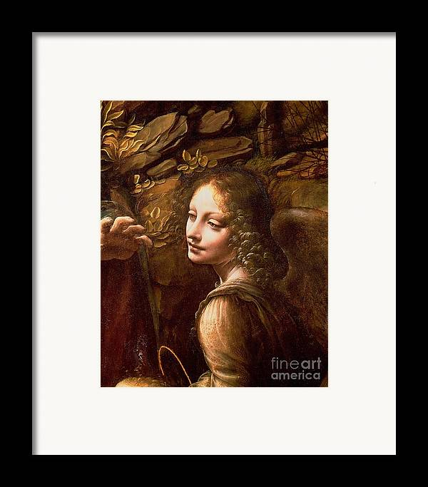 Detail Framed Print featuring the painting Detail Of The Angel From The Virgin Of The Rocks by Leonardo Da Vinci