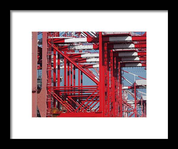 Dock Framed Print featuring the photograph Detail View Of A Row Container Loading Cranes by Yali Shi