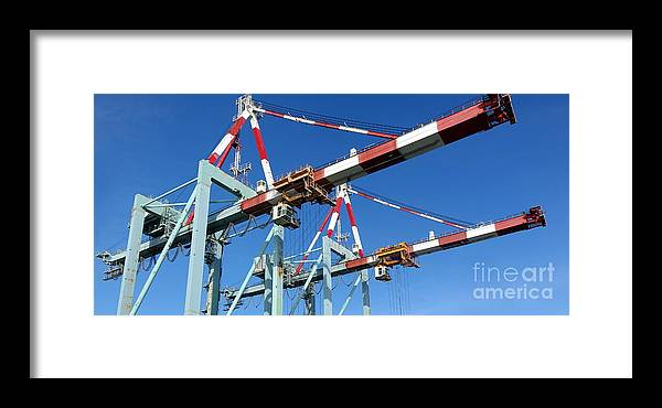 Dock Framed Print featuring the photograph Detail View Of Container Loading Cranes by Yali Shi
