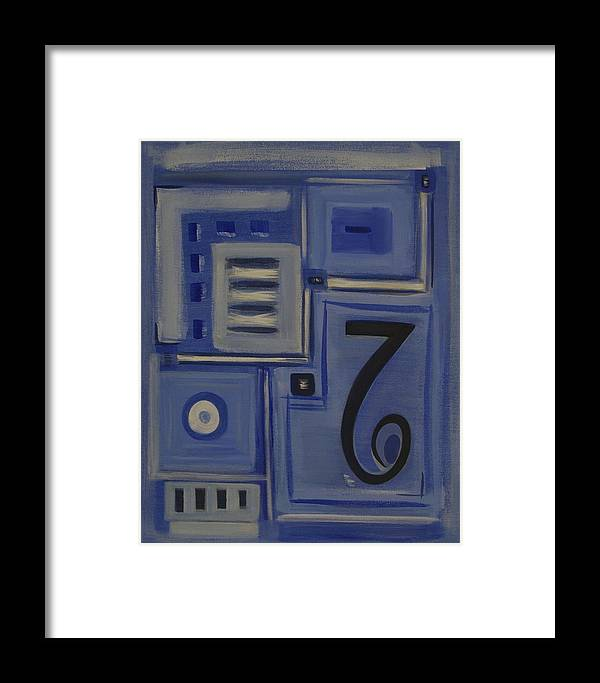 Abstract Framed Print featuring the painting Details In Blue by Sandy Bostelman