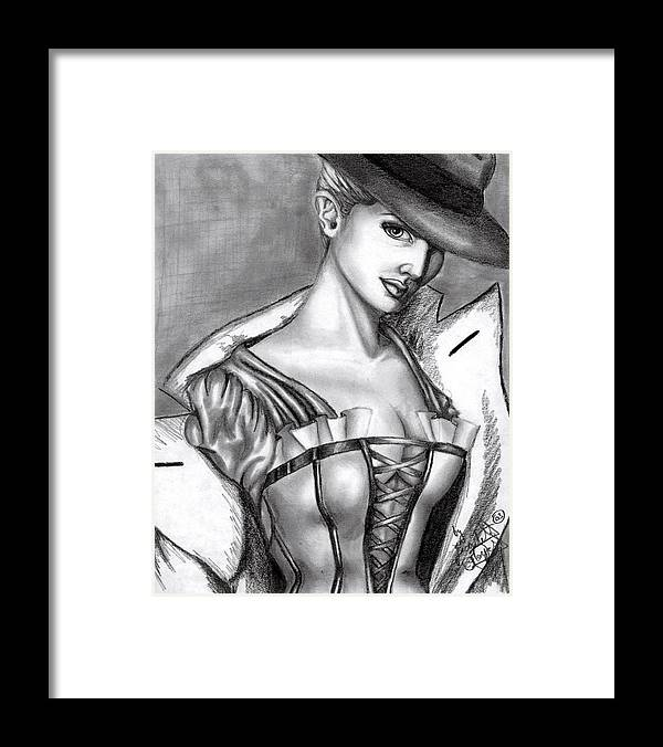 Figure Framed Print featuring the drawing Detective by Scarlett Royal
