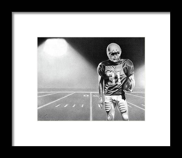 Football Framed Print featuring the drawing Determined by Christopher Bracken