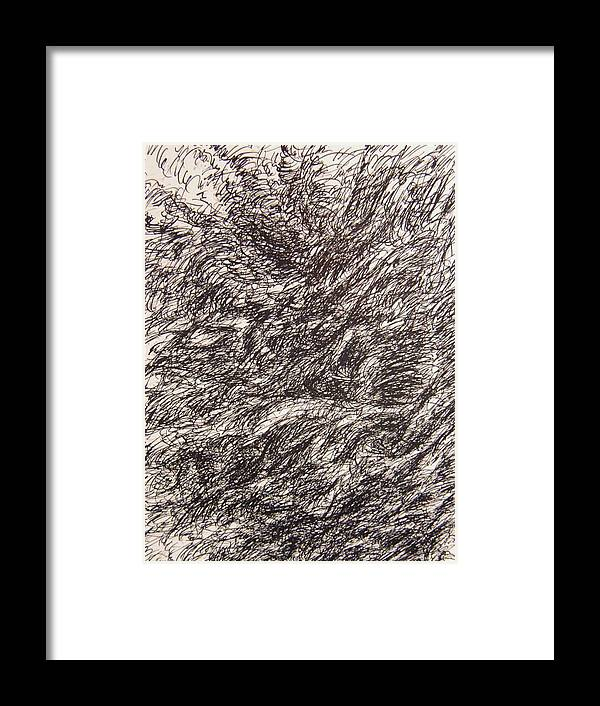 Landscape Framed Print featuring the drawing Detonate by Uwe Schein