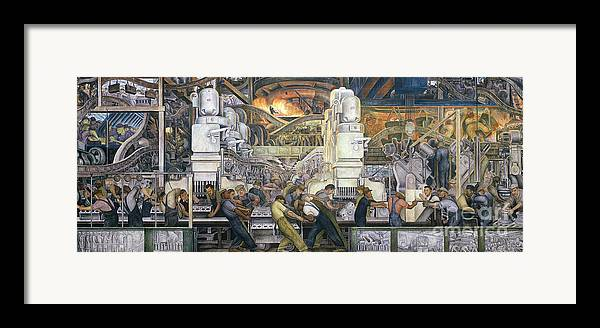 Machinery; Factory; Production Line; Labour; Worker; Male; Industrial Age; Technology; Automobile; Interior; Manufacturing; Work; Detroit Industry Framed Print featuring the painting Detroit Industry  North Wall by Diego Rivera