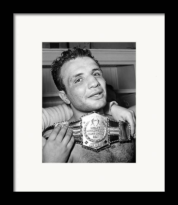 Athlete Framed Print featuring the photograph Detroit, Mich. Jake Lamotta Is Awarded by Everett