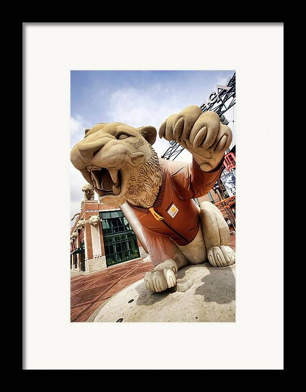 Detroit Framed Print featuring the photograph Detroit Tigers Tiger Statue Outside Of Comerica Park Detroit Michigan by Gordon Dean II