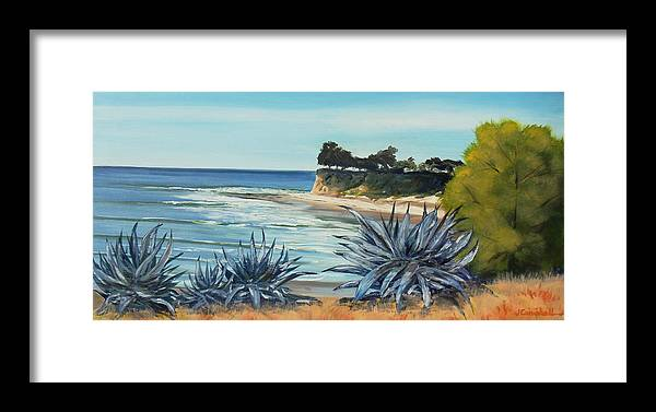 Devereux Point Framed Print featuring the painting Devereux Agaves by Jeffrey Campbell