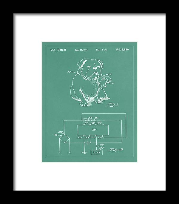 Patent Framed Print featuring the mixed media Device For Protecting Animal Ears Patent Drawing 1d by Brian Reaves