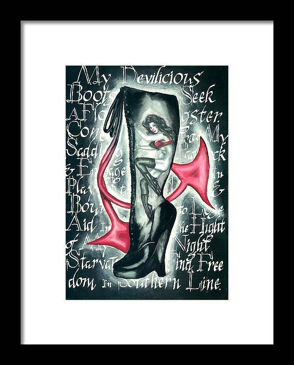 Erotic Framed Print featuring the drawing Devilicious Boot by Scarlett Royal