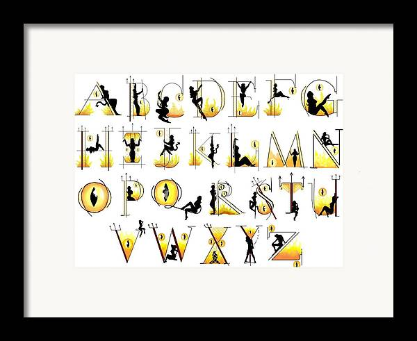 Letters Framed Print featuring the digital art Devilish Alphabet by Scarlett Royal