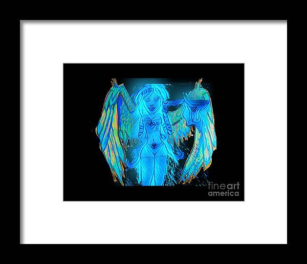 Devil's Framed Print featuring the mixed media Devilish Angel by Shylee Charlton
