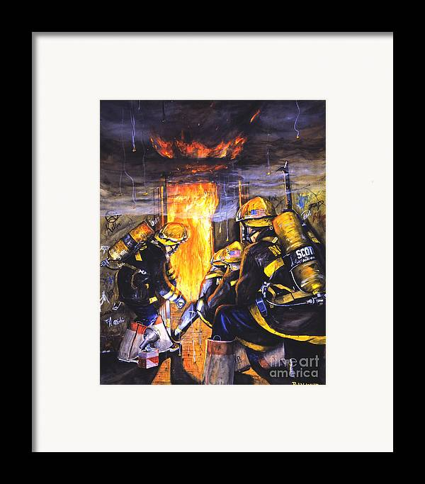 Firefighting Framed Print featuring the painting Devil's Doorway by Paul Walsh