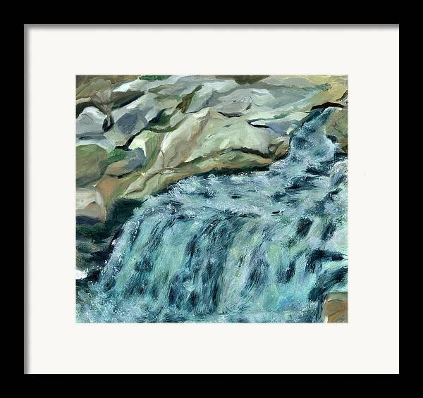Rocks Framed Print featuring the painting Devils Hopyard by Paula Emery