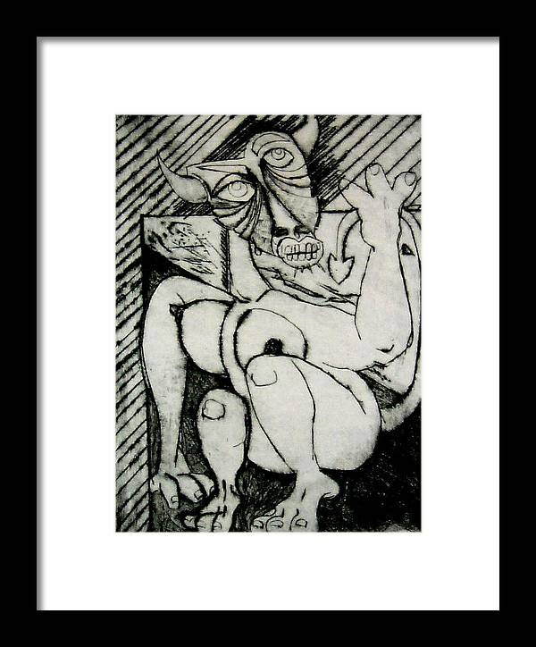 Gilr Framed Print featuring the print Devils Horse by Thomas Valentine