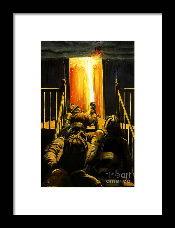 Firefighting Framed Print featuring the painting Devil's Stairway by Paul Walsh