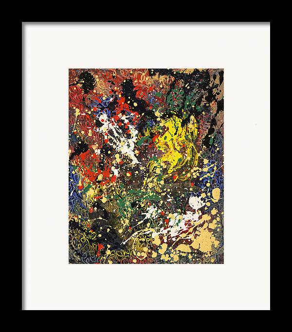 Abstract Framed Print featuring the painting Devinez by Dominique Boutaud