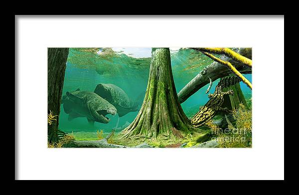 Paleoart Framed Print featuring the digital art Devonian mural by Julius Csotonyi