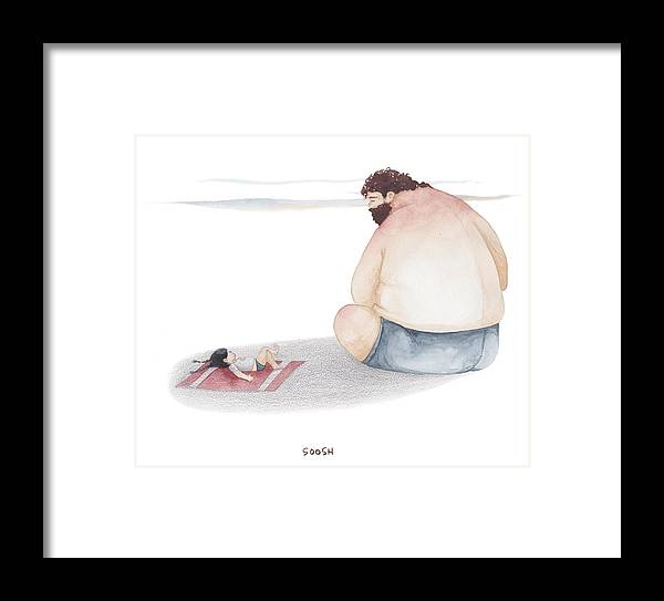 Father Framed Print featuring the drawing Devoted Father by Soosh
