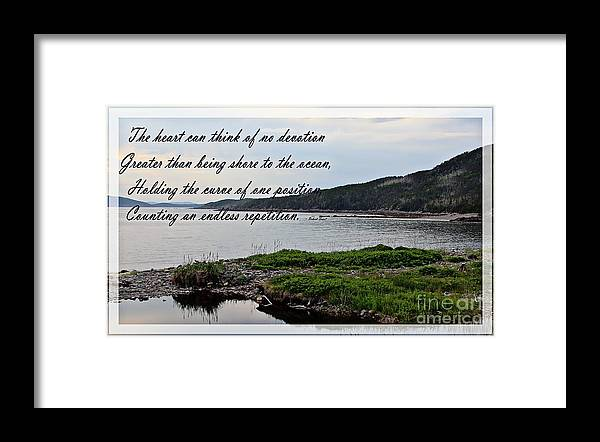 Devotion By Poet Robert Frost Framed Print featuring the photograph Devotion by Poet Robert Frost by Barbara Griffin
