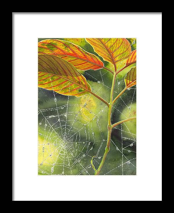 Web Framed Print featuring the painting Dew Drop by Catherine G McElroy