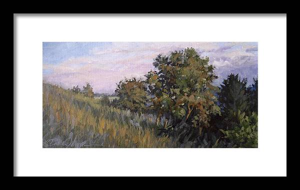 Tree Hillside Landscape Framed Print featuring the painting Dew On Dusk - Giverny France by L Diane Johnson
