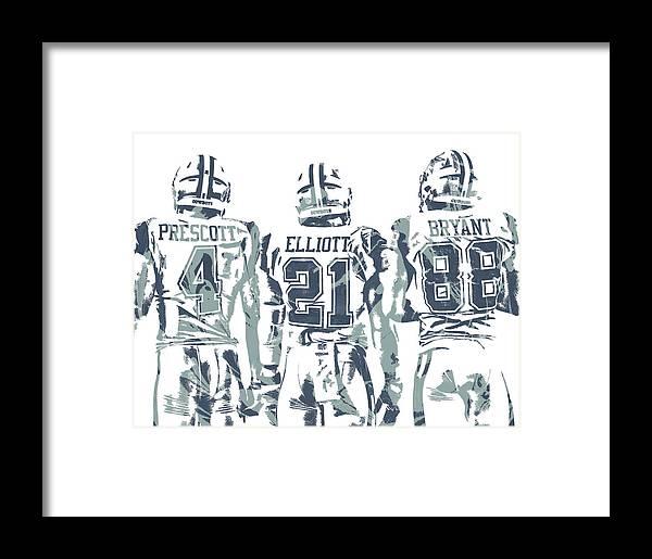 d36fdd80eaac03 Dez Bryant Ezekiel Elliott Dak Prescott Dallas Cowboys Pixel Art Framed  Print by Joe Hamilton