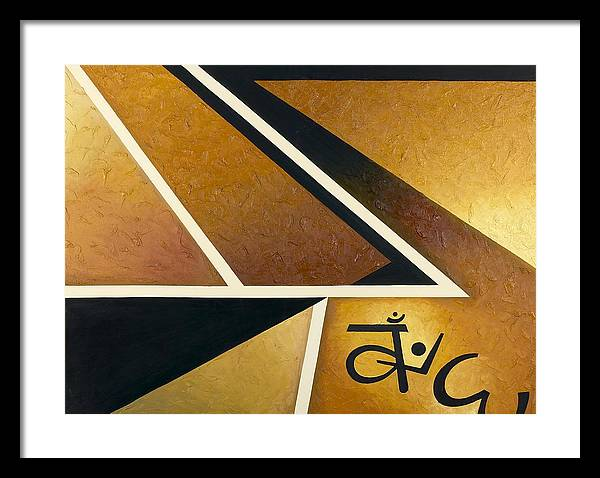 Abstract Geometry Framed Print featuring the painting Dhammapada by Ara Elena