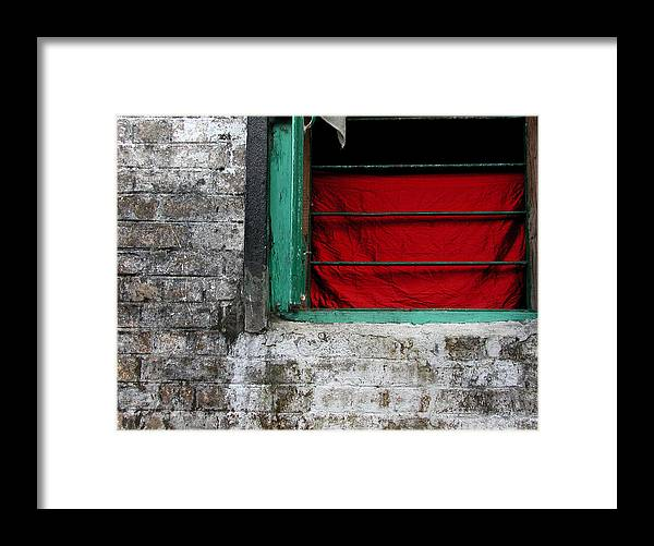 Red Framed Print featuring the photograph Dharamsala Window by Skip Hunt
