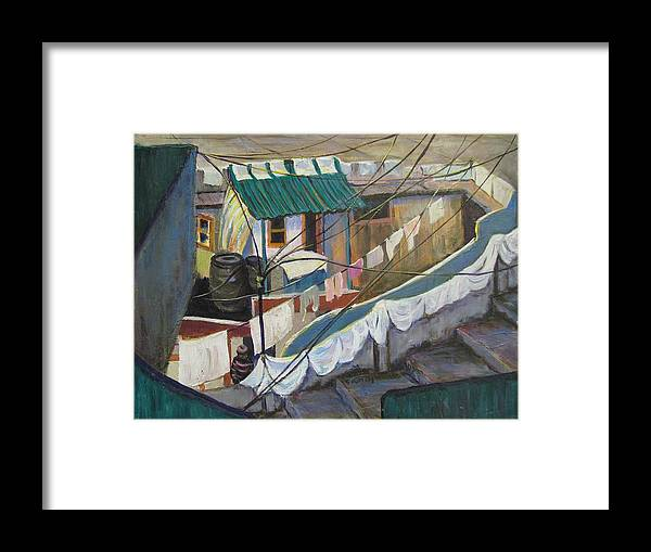 Landscape Framed Print featuring the painting Dhobi by Art Nomad Sandra Hansen