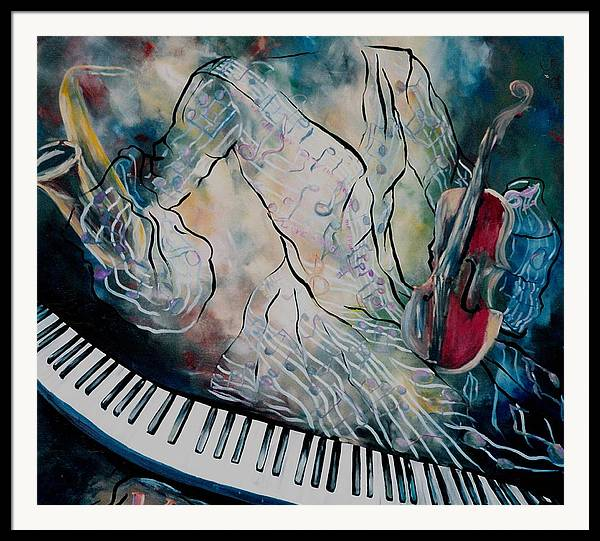 Surreal Music Framed Print featuring the painting Di Musica by Stephanie Cox