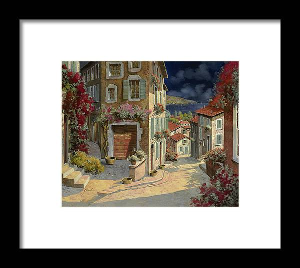 Seascape Framed Print featuring the painting Di Notte Al Mare by Guido Borelli