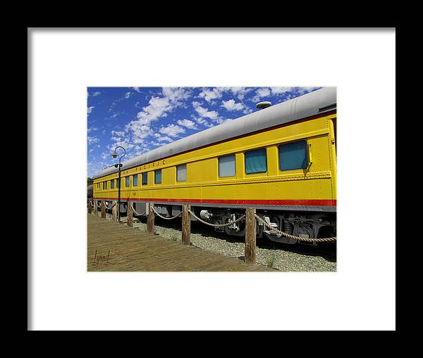 Union Pacific Framed Print featuring the photograph Diagonal On The Rails by S Lynn Lehman