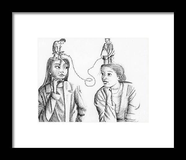 Philosophical Thoughts Framed Print featuring the drawing Dialogue by Tanni Koens